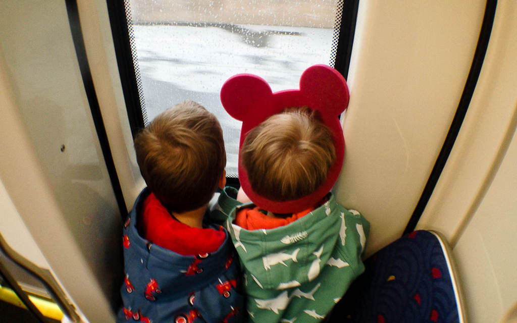 . Two brothers ride the train on opening day of the Metro Transit Green Line.  (Pioneer Press: Ben Garvin)