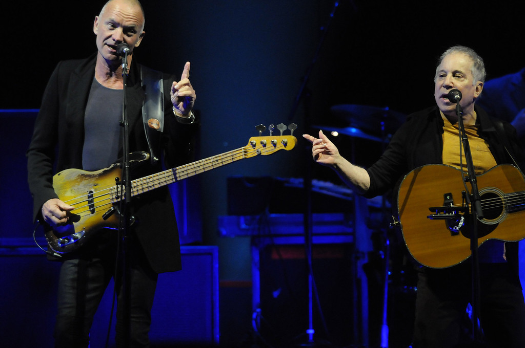 ". <p><b> Sunday night�s big concert featuring Paul Simon and Sting in St. Paul nearly came to a halt when these began malfunctioning � </b> <p> A. Their microphones <p> B. Their guitars <p> C. Their hearing aids <p><b><a href=\'http://www.twincities.com/music/ci_25214461/sting-and-paul-simon-review-every-little-thing\' target=""_blank\"">HUH?</a></b> <p>   (Pioneer Press: Scott Takushi)"