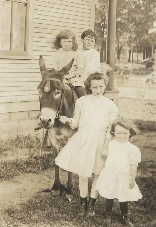 . The little treasuresWrites THOMAS J. DELANEY III: �This is the Delaney family, about 1915, growing up on 1302 Hague Avenue in St. Paul. That is Bobbie (Beaudette) on donkey, next to brother Tom Jr. Standing are sisters Marg (Scanlon) and Dolly (Dobie). They were such a wonderful group, and are all now looking down upon us from above.�