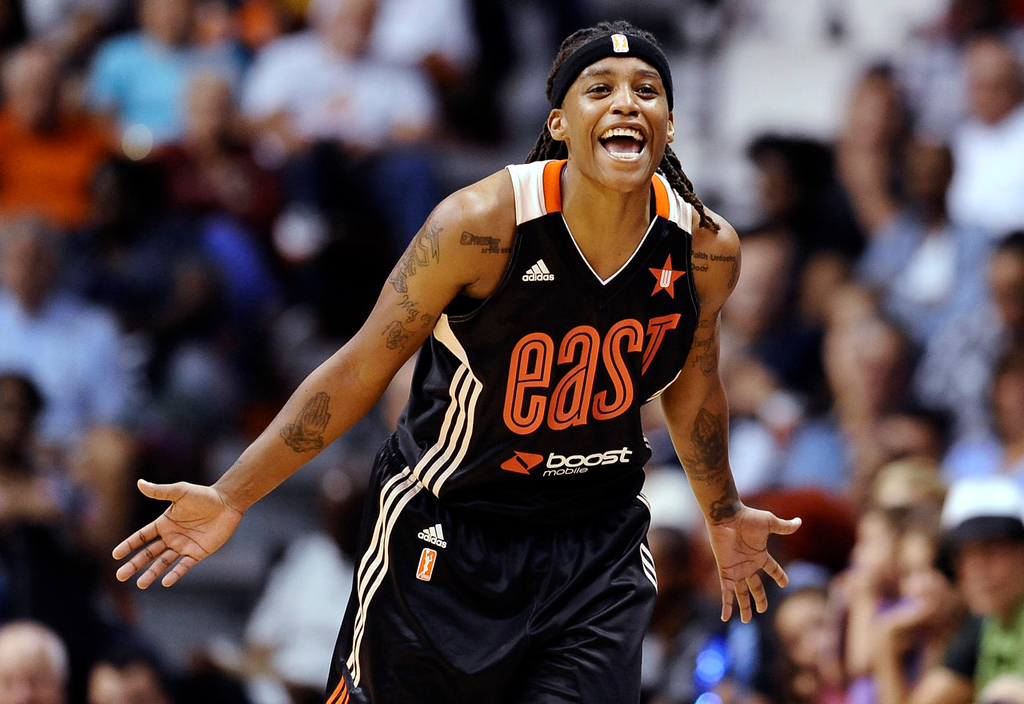 . East\'s Shavonte Zellous, of the Indiana Fever, reacts during the second half. (AP Photo/Jessica Hill)