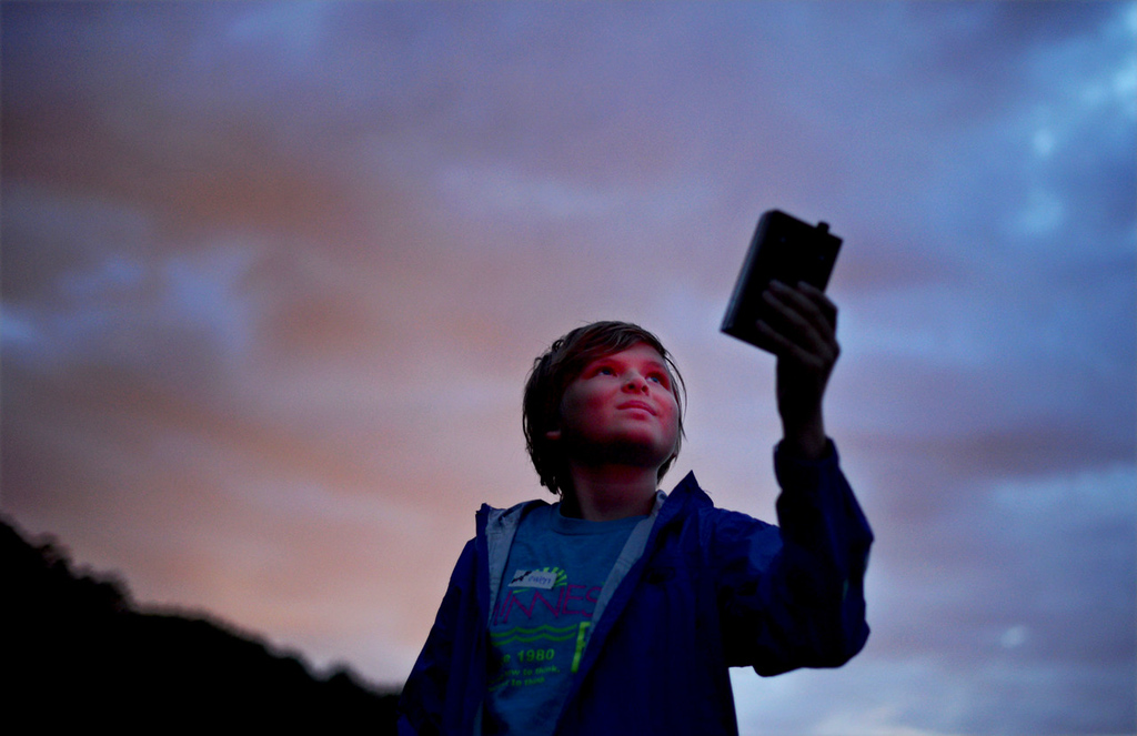 . 11-year-old Owen Thurmes of Little Canada uses his bat scanner to pick up the ultrasonic sounds emitted by the flying mammals during a bat outing led by naturalist Carole Gernesat Maplewood Nature Center on Thursday July 25, 2013. The detector picks up inaudible frequencies emitted by bats looking for food.  (Pioneer Press: Chris Polydoroff)