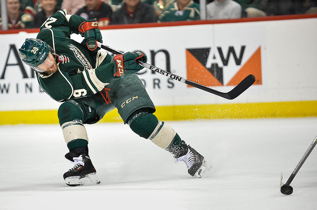. Minnesota Wild right wing Jason Pominville takes a shot on goal in the second period. (Pioneer Press: Ben Garvin)