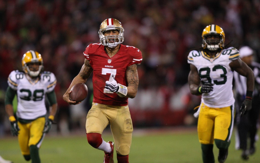 . <p><b> Packers at 49ers (-4½):</b>  <p>Green Bay�s defense, in a big change from the 2012 divisional playoffs, will try to occasionally tackle Mr. Kaepernick. <p>Pick: <b>49ers by 3</b> <p>    (Jim Gensheimer/San Jose Mercury News/MCT)