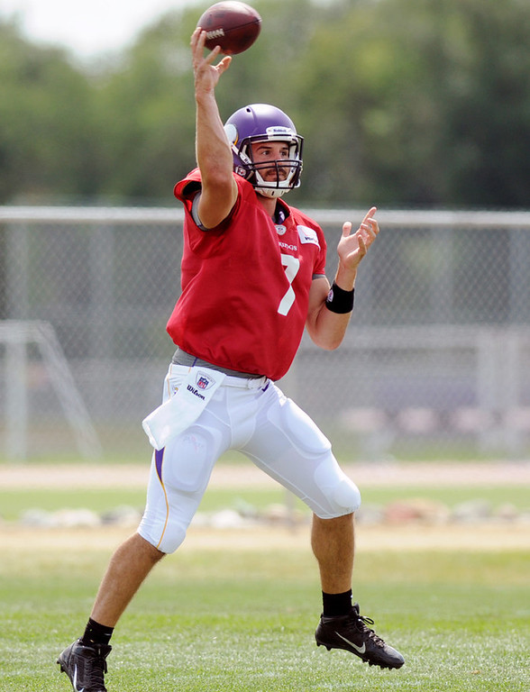 . Vikings quarterback Christian Ponder unleashes a pass during the last practice of training camp.  (Pioneer Press: Chris Polydoroff)