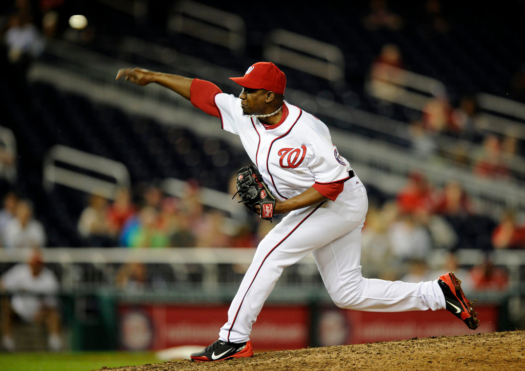 . Washington Nationals relief pitcher Rafael Soriano (29) delivers against the Minnesota Twins during the ninth inning of the second baseball game of a day-night interleague doubleheader, Sunday, June 9, 2013, in Washington. The Nationals won 5-4. (AP Photo/Nick Wass)