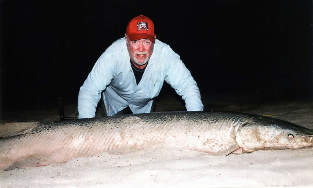 . John Browning of Minnetonka caught an alligator gar on Memorial Day (May 26, 2014) at Trinity River in Liberty, Texas. The fish weight 225 pounds, 7 feet and 8 inches. (Courtesy of John Browning)
