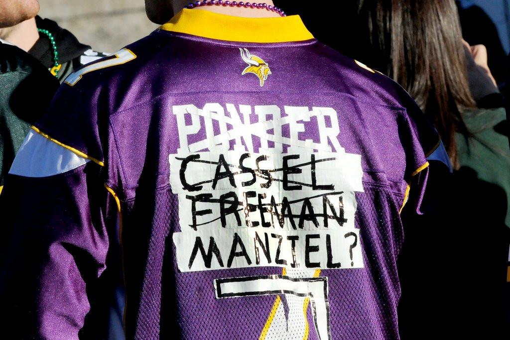 . Vikings season ticket holder Preston Phillips of Minot, N.D., was creative with his Vikings Christian Ponder jersey. (Pioneer Press: Sherri LaRose-Chiglo)
