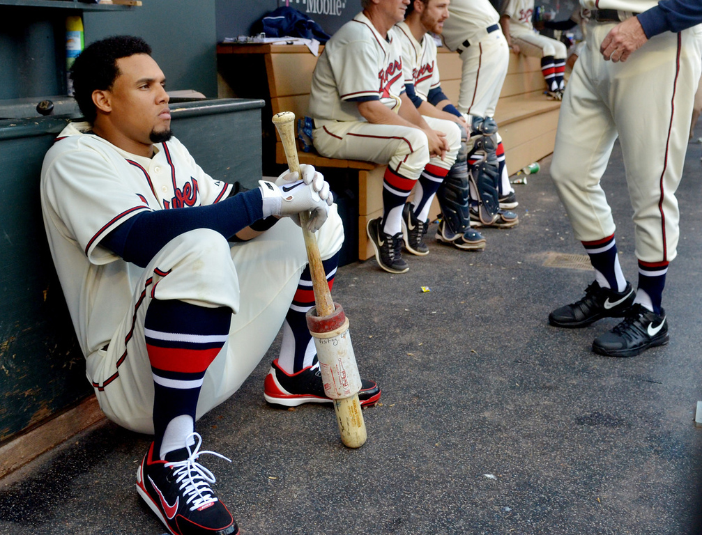 . Former Twin and current Brewer Carlos Gomez mentally prepares himself prior to the start of the first inning of a Major League Baseball game at Target Field in Minneapolis, May 30, 2013. Minnesota wears 1948 St. Paul Saints jerseys while the Brewers sport their 1948 uniform for the throwback night. (Pioneer Press: John Autey)