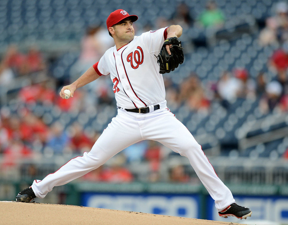 . Washington Nationals starting pitcher Nathan Karns (57) delivers against the Minnesota Twins during the first inning of the second game of a day-night doubleheader. (Chuck Myers/MCT)