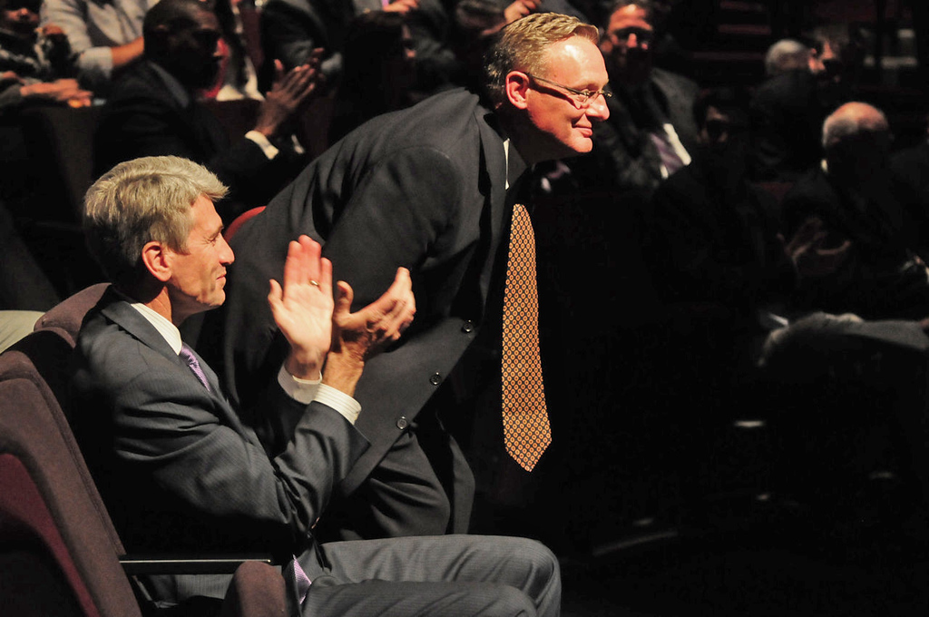 . Minneapolis Mayor R.T. Rybak , left, and Ted Mondale, CEO of the Minnesota Sports Facilities Authority, were on hand as the design of the new Vikings stadium by HKS Inc. was unveiled Monday evening. (Pioneer Press: Scott Takushi)