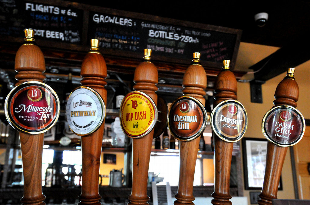 . The number of Minnesota craft brewers is growing by leaps and bounds. Shown are the various beers on tap at Lift Bridge Brewery\'s tasting room in Stillwater. The brewery, with regional aspirations, doubled the number of fermenters in the past two years and still can\'t keep up with demand. (Pioneer Press: John Doman)