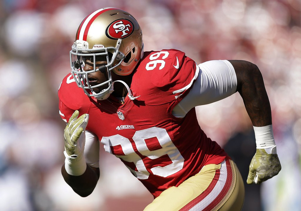 """. <p>4. ALDON SMITH <p>Bombed. Allegedly. (unranked) <p><b><a href=\'http://www.twincities.com/sports/ci_25562875/aldon-smith-arrest-49ers-troubling-cycle-starts-again\' target=\""""_blank\""""> HUH?</a></b> <p>   (AP Photo/Marcio Jose Sanchez)"""
