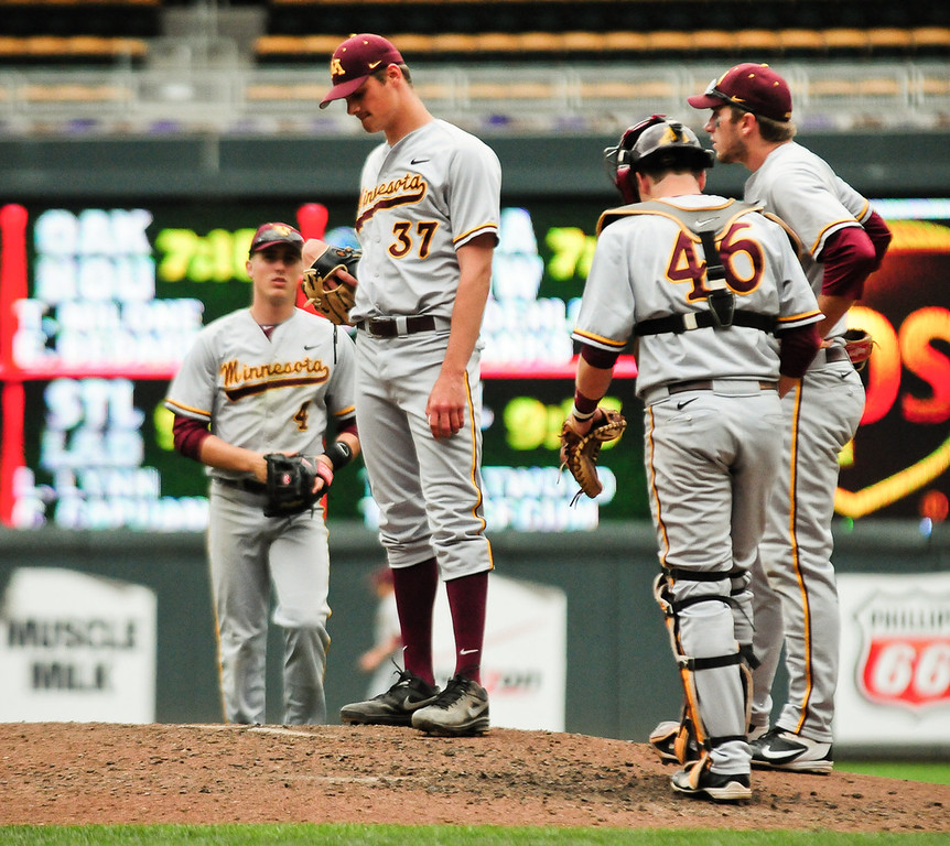 . Minnesota pitcher Dalton Sawyer waits to be taken out of the game after giving up a three-run homer. (Pioneer Press: Ben Garvin)