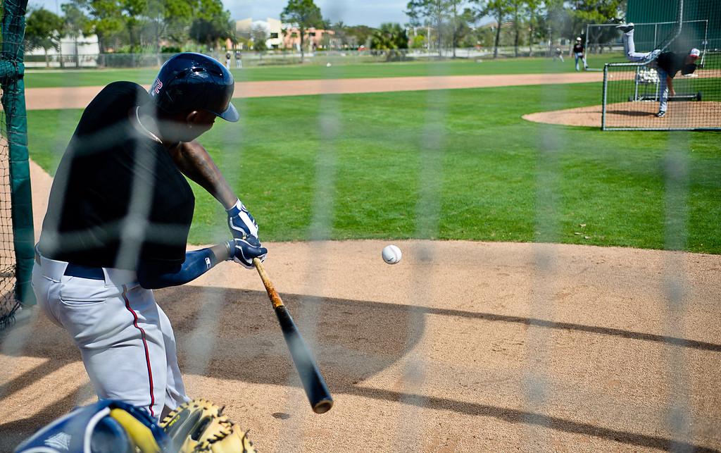 . Twins rookie Miguel Sano strokes a live pitch from righty Alex Meyer. (Pioneer Press: Ben Garvin)