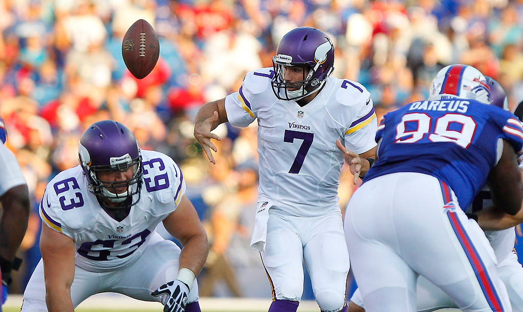 . Minnesota Vikings quarterback Christian Ponder (7) loses control of the ball on the snap during the first half Friday, Aug. 16, 2013, against the Buffalo Bills in Orchard Park, N.Y. The Vikings retained possession, but lost their second preseason game 20-16. (AP Photo/Bill Wippert)