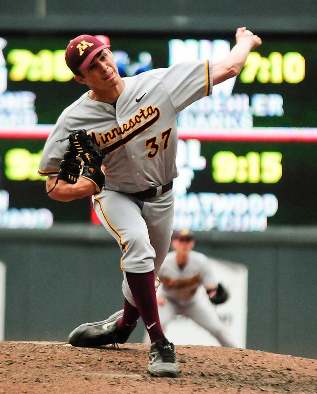 . Minnesota starting pitcher Dalton Sawyer throws in the third inning. (Pioneer Press: Ben Garvin)