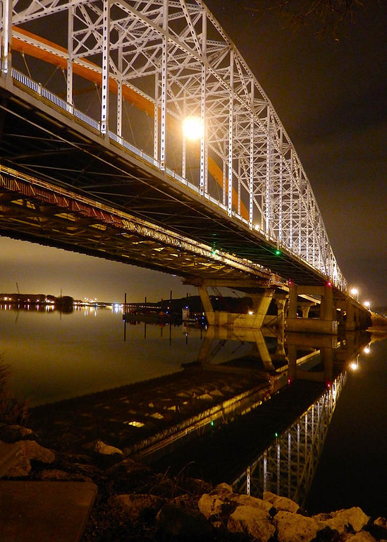 . The Hastings bridges are reflected in the waters of the Mississippi River in a Sept. 2012 photo. Photo courtesy of Dave Youngren/Hastings Bridge Watch.