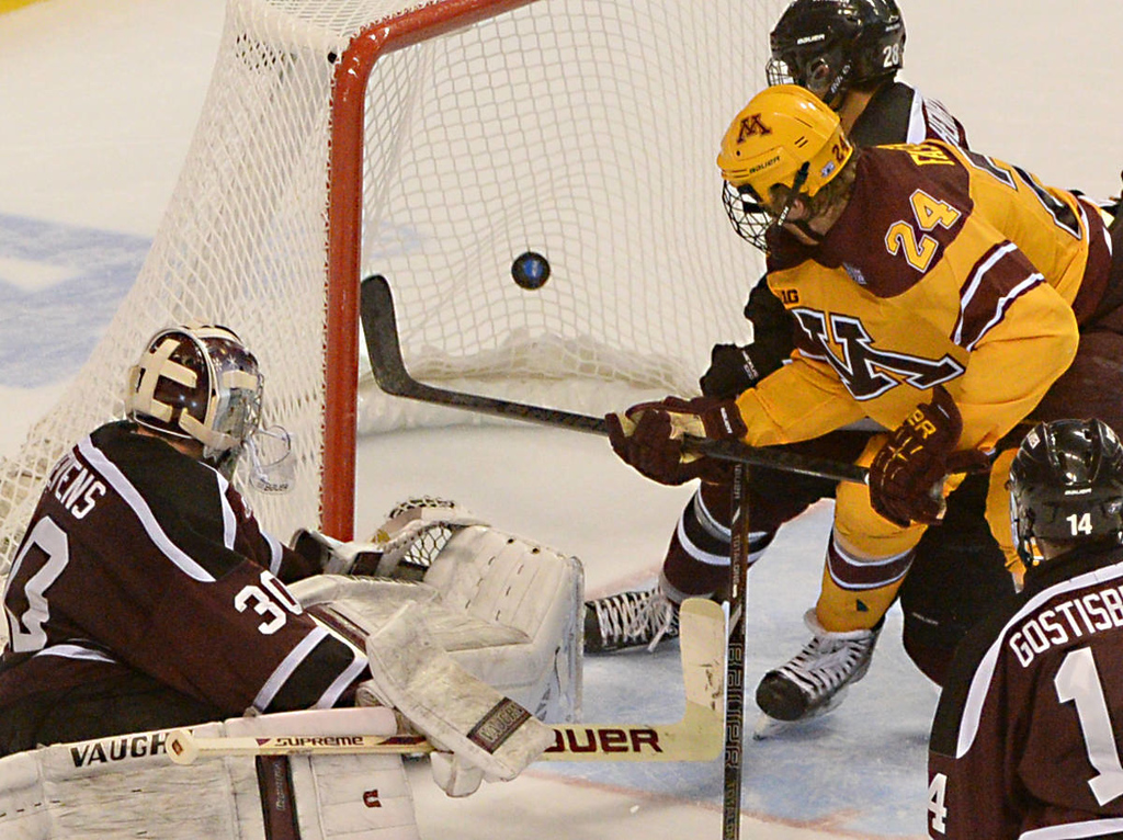 . Minnesota freshman forward Hudson Fasching catches Union College junior goalie Colin Stevens away from the net and scores a goal in the third period of the NCAA Frozen Four Championship Game at the Wells Fargo Center in Philadelphia, Saturday, April 12, 2014. Union College beat the Gophers 7-4 to claim the national championship.  (Pioneer Press: John Autey)