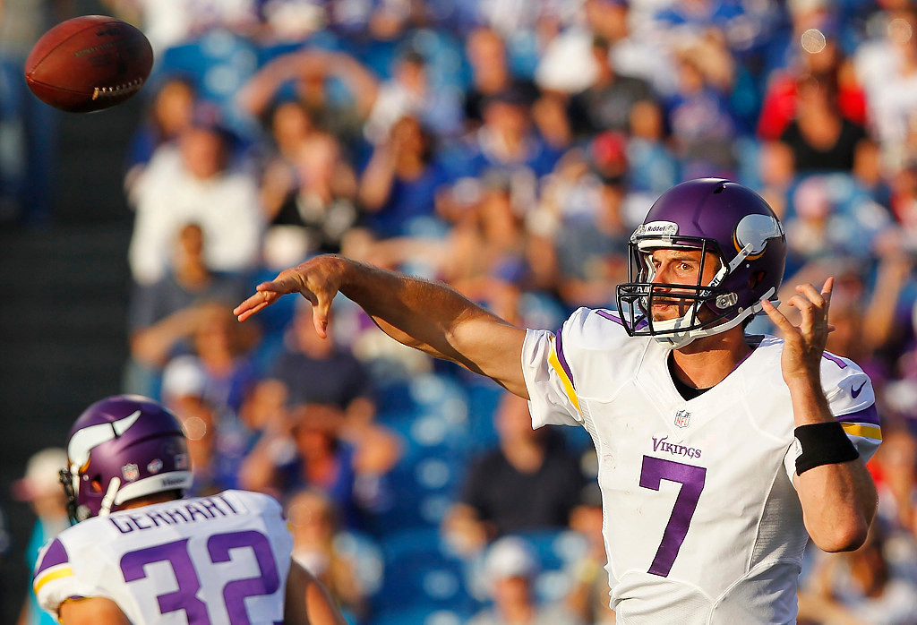 . Minnesota Vikings quarterback Christian Ponder (7) throws a pass during the first half of an NFL preseason football game against the Buffalo Bills Friday, Aug. 16, 2013, in Orchard Park, N.Y.  (AP Photo/Bill Wippert)