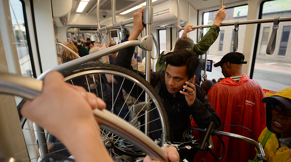 . It\'s a crowded train heading to Minneapolis during the Metro Transit Green Line Grand Opening. (Pioneer Press: John Autey)