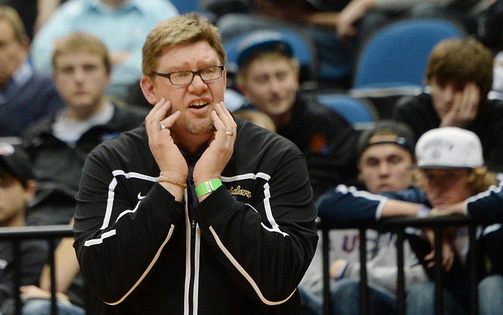 . Cretin-Derham Hall head coach Jerry Kline Jr. diagrees with a call during the Raiders\' game against St. Francis.. (Pioneer Press: John Autey)