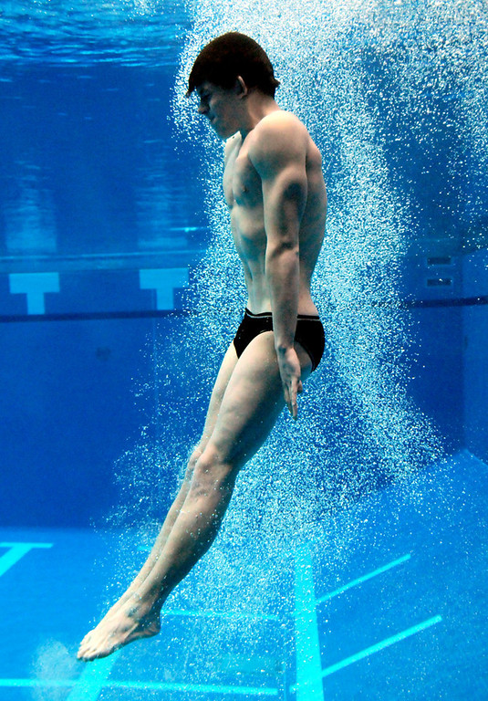 . Simley (Inver Grove Heights) High School\'s Nathan Stone during his second dive at the Class A State Swimming and Diving Meet. Stone placed sixth. (Pioneer Press: Sherri LaRose-Chiglo)