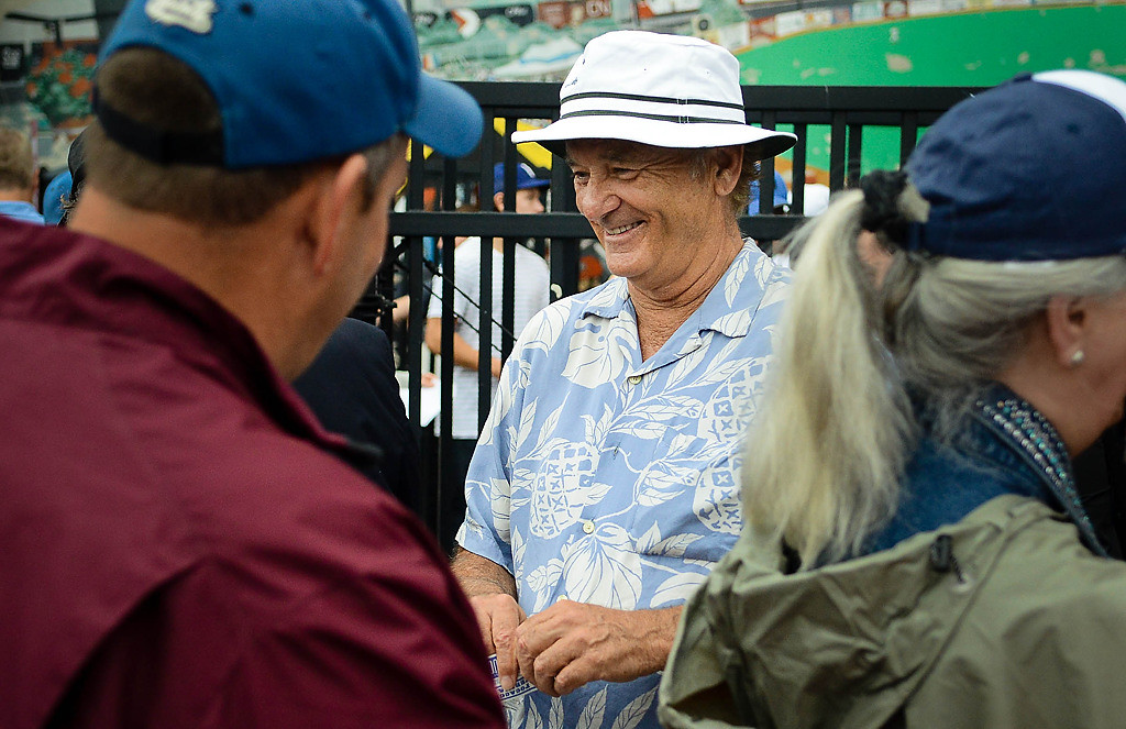 . Bill Murray greeted fans and took their tickets before the game. (Pioneer Press: Ben Garvin)