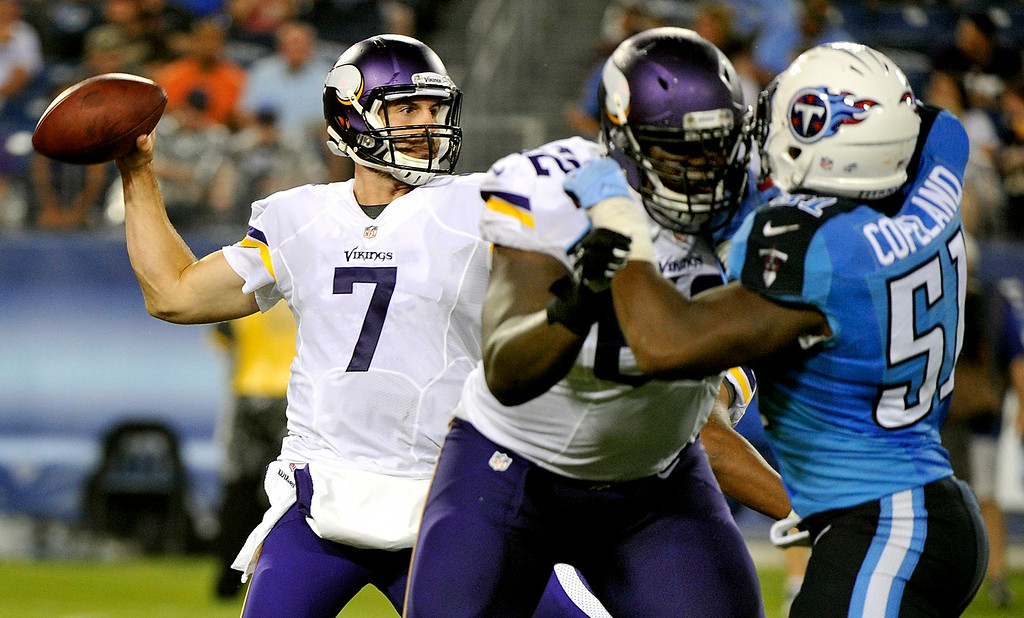 . Quarterback Christian Ponder of the Minnesota Vikings drops back to throw a pass against the Tennessee Titans. (Photo by Frederick Breedon/Getty Images)