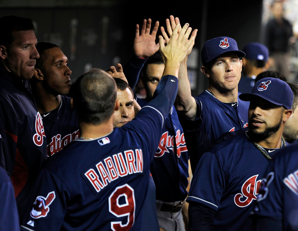 . Ryan Raburn of the Cleveland Indians celebrates a two-run home run during the sixth inning. (Photo by Hannah Foslien/Getty Images)