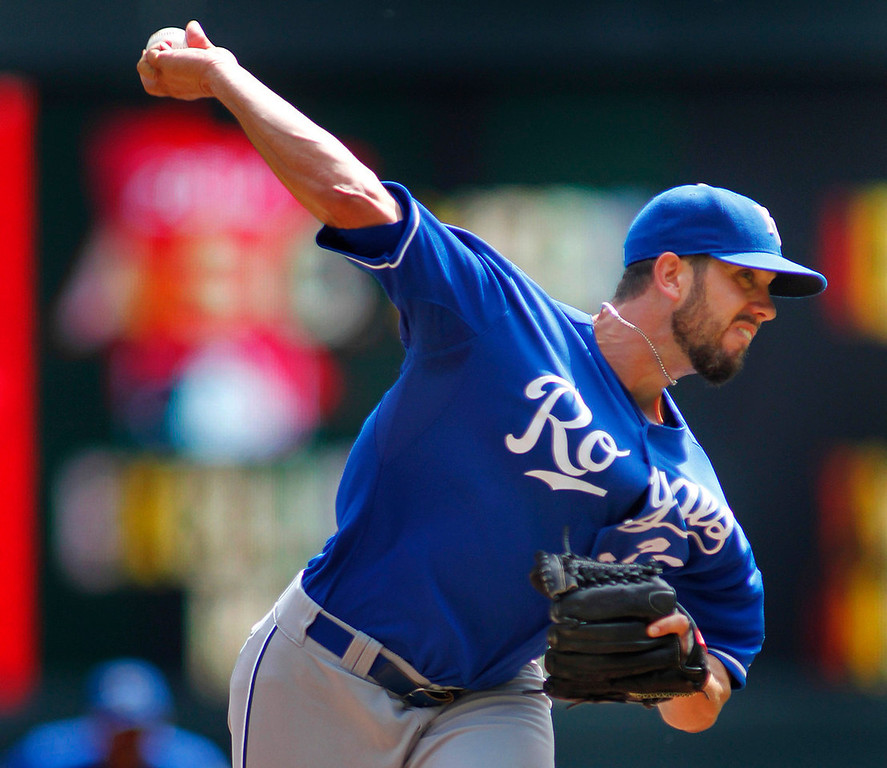 . Royals starting pitcher James Shields delivers against the Twins in the first inning. Shields allowed two earned runs on five hits in six innings of work.  (AP Photo/Andy Clayton-King)
