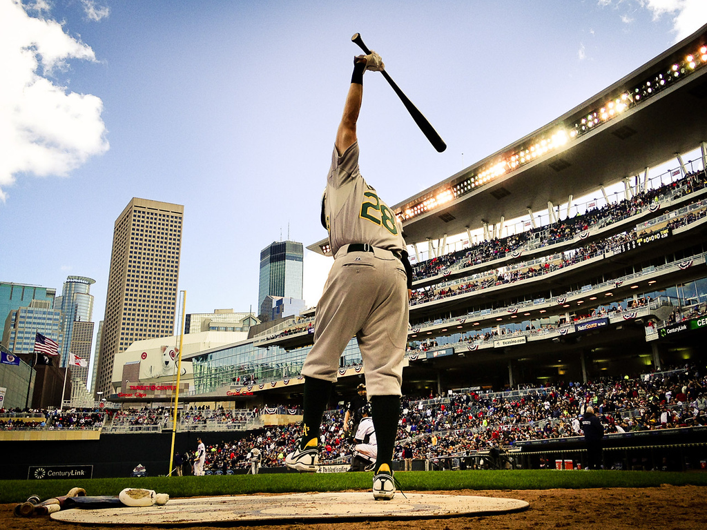 . Oakland\'s Eric Sogard gets loose in the on deck circle in the eighth inning against the Twins.  (Pioneer Press: Ben Garvin)