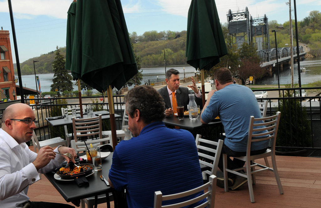 . Diners at the Green Room\'s patio, Stillwater first rooftop venue, have a bird\'s-eye view of the St. Croix River and the Stillwater Lift Bridge on May 15, 2013. (Pioneer Press: Jean Pieri)