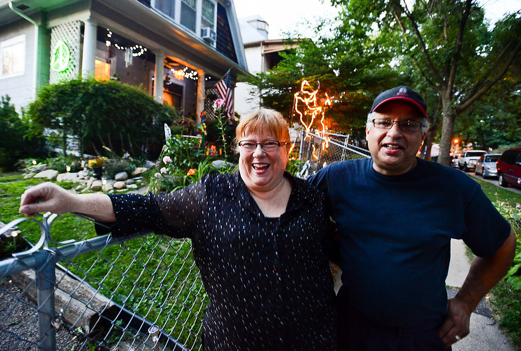 . Jim and Holly Wardlaw stand outside their Fourth Street home. Over the past six months, the number of major crimes in Dayton�s Bluff has dipped more than anywhere else in the city. Finally, the block the Wardlaws babysat for decades has grown quiet. (Pioneer Press: Ben Garvin)