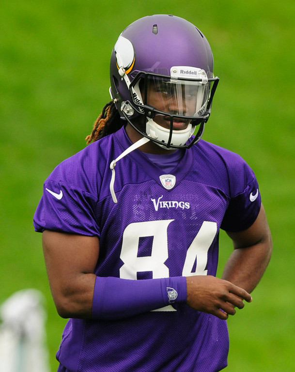 """. Rookie wide receiver Cordarrelle Patterson picked his jersey number in honor of former Vikings wide receiver Randy Moss. \""""Randy was my role model since I was little,\"""" he said. (Pioneer Press: Scott Takushi)"""