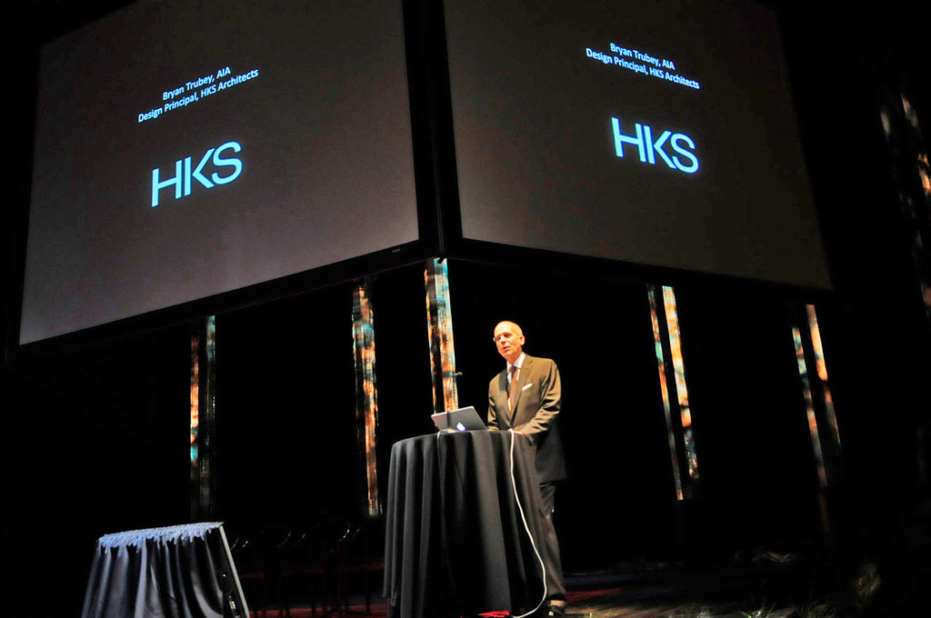 . Architect BryanTrubey of HKS Inc. spoke prior to the unveiling of the design plans for the new Vikings stadium on Monday evening. (Pioneer Press: Scott Takushi)