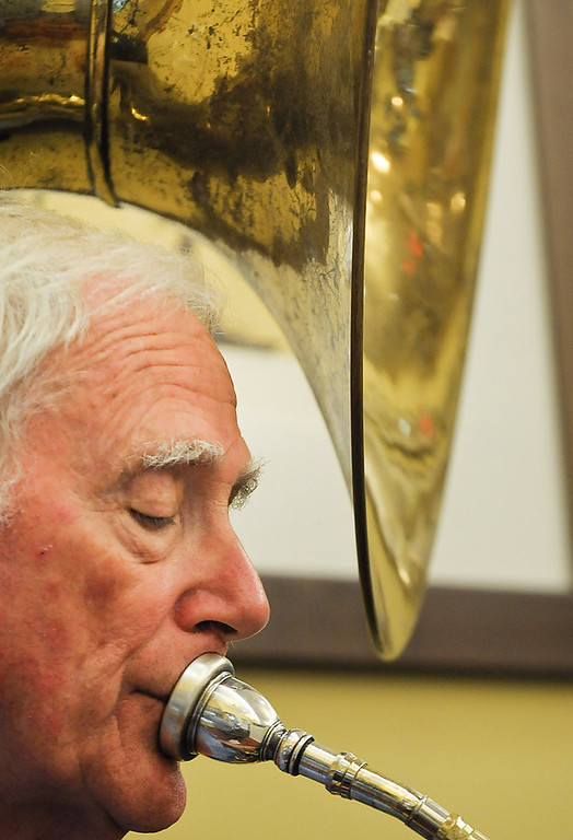 . John Moriarty of St. Paul plays the sousaphone with the St. Paul Police Band. (Pioneer Press: Ben Garvin)