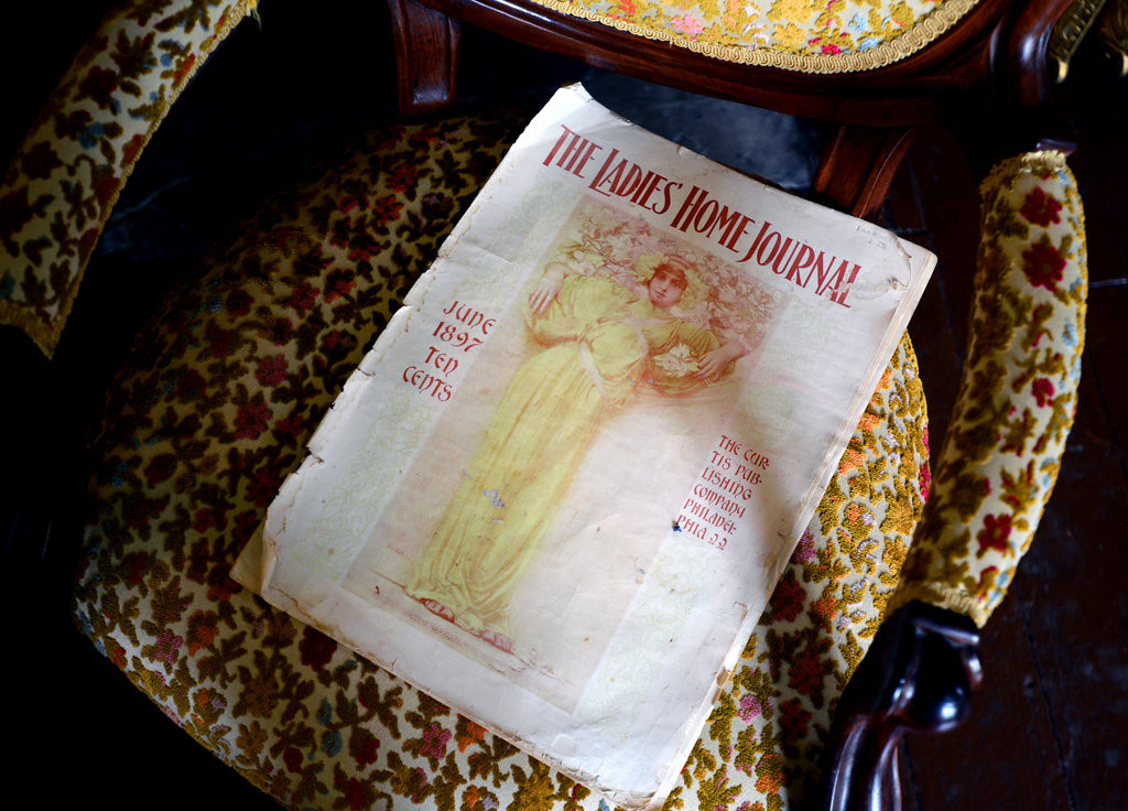 . A Victorian chair holds a copy of Ladies Home Journal from 1897 at the LeDuc Historic Estate. The home was built between 1862 and 1866 during the Civil War. (Pioneer Press: Chris Polydoroff)