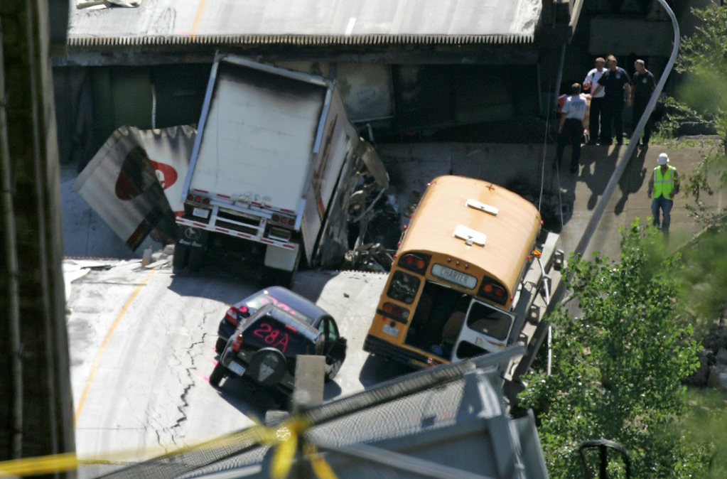 . Kim Dahl of Anoka was driving the Pillsbury Waite House Summer Program bus with 51 passengers on board when the I-35W bridge collapsed on August 1, 2007, dropping the bus 45 vertical feet. Dahl broke her back in the fall, but managed to keep the bus upright on the steeply canted bridge surface.   (File photo by Mark Wilson/Getty Images)