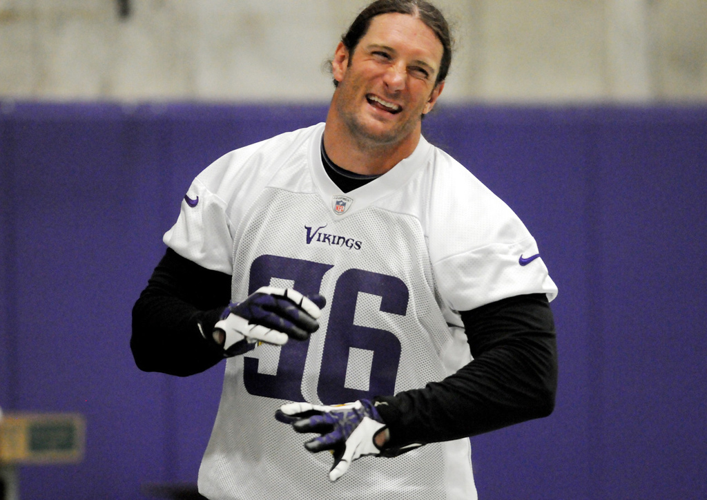 . Vikings defensive end Brian Robison laughs after making a tackle. (Pioneer Press: Jean Pieri)