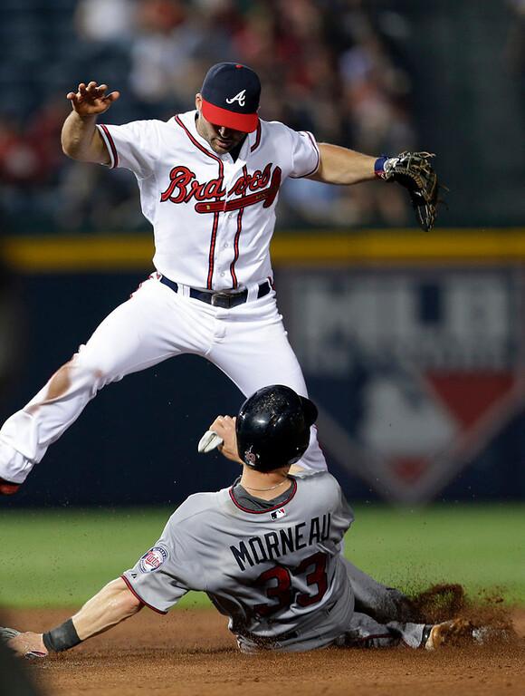 . Minnesota Twins\' Justin Morneau is forced out at second base by Atlanta Braves second baseman Dan Uggla. (AP Photo/John Bazemore)