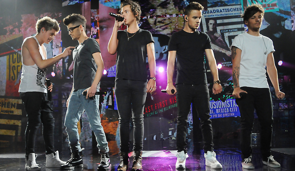 . From left to right: Niall Horan, Zayne Malik, Harry Styles, Liam Payne and Louis Tomlinson from the band One Direction perform during their concert at the Target Center, in Minneapolis, Thursday, July 18, 2013.  (Pioneer Press: John Autey)