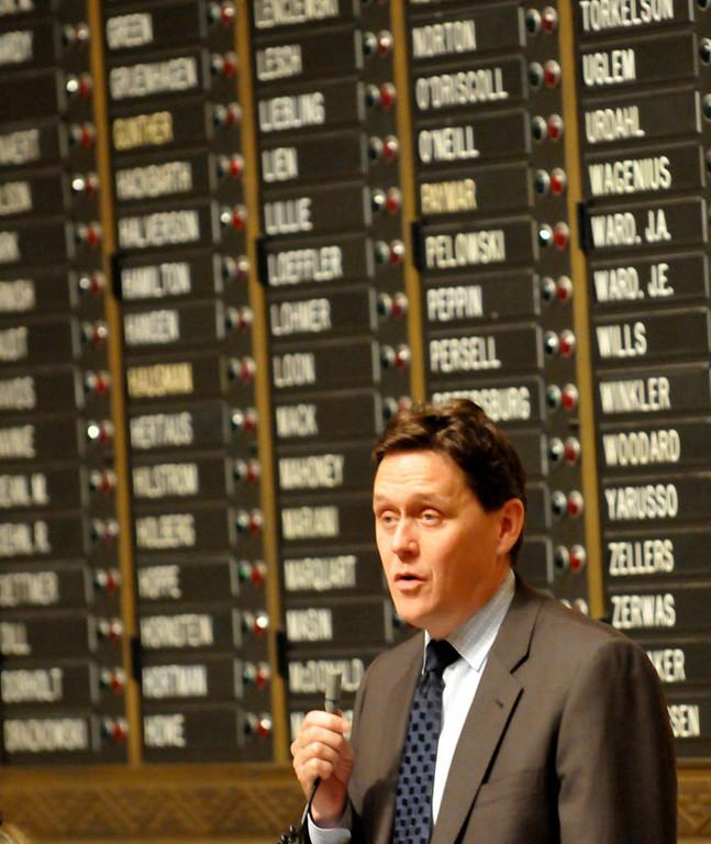 . Rep. Matt Dean, R-Dellwood, speaks against the child care unionization bill. (Pioneer Press: John Doman)