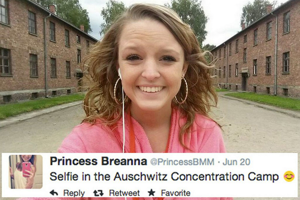 ". 10. (tie) SELFIES <p>The more tasteless your background selection, the quicker you get your 15 minutes of fame. (8) </p><p><b><a href=""http://abcnews.go.com/US/selfies-auschwitz-911-memorial/story?id=23349752\"" target=\""_blank\""> LINK </a></b> </p><p>   (Twitter photo)</p>"