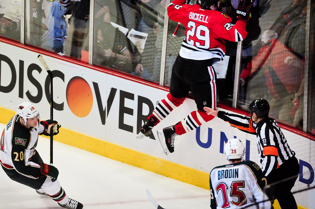 . Bickell on the glass after scoring the winning OT goal. (Pioneer Press: Ben Garvin)