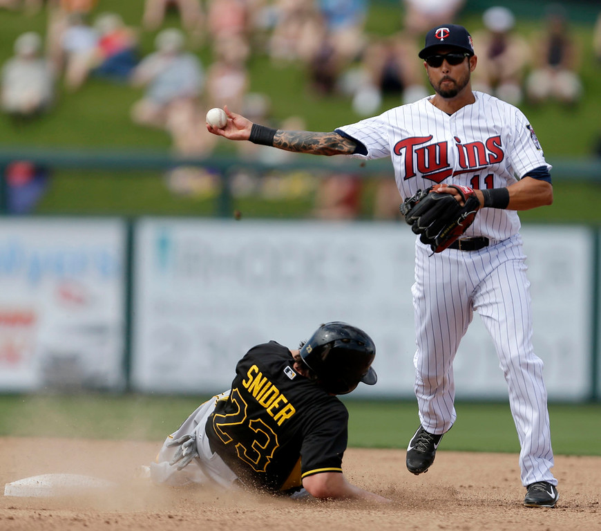 . Pirates base runner Travis Snider is forced at second as Twins shortstop Jason Bartlett throws to first to complete a double play off the bat of Pittsburgh\'s Pedro Alvarez in the fifth inning. (AP Photo/Gerald Herbert)