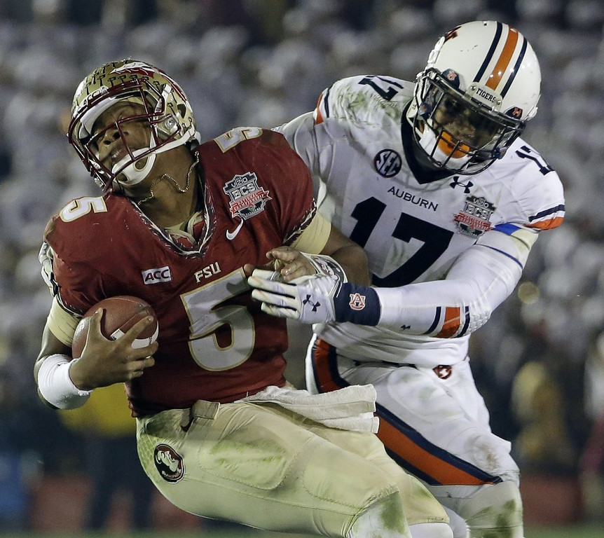 """. <p>1. (tie) JAMEIS WINSTON <p>Gives God Almighty credit for Florida State�s national title, even though Tallahassee Police Department played a much bigger role. (unranked) <p><b><a href=\'http://abcnews.go.com/Sports/wireStory/bcs-watch-florida-state-faces-auburn-title-21442679\' target=\""""_blank\""""> HUH?</a></b> <p>   <p>OTHERS RECEIVING VOTES <p> Frostbite, Brent �Kirk Herbstreit� Musburger, Yukon Cornelius, John Kuhn�s Lambeau Leap, Michael Bay, Andy Dalton, Jeff Bezos� kidney stone, Southern Illini Salukis, Andrew Luck naked, O.J. Simpson, Leslie Frazier, Bowl week, Minnesota Wild, Erin Henderson, Target, Obamacare, Bill de Blasio, Edward Snowden, Kim Jong Un, �The Wolf of Wall Street�, Vladimir Putin, Mike Priefer, Eddie Rosario, Shabazz Muhammad, Ohio State Buckeyes, Anderson Silva\'s leg, Melissa Harris-Perry, Fallujah. <p> <br><p> You can follow Kevin Cusick at <a href=\'http://twitter.com/theloopnow\'>twitter.com/theloopnow</a>.    (AP Photo/David J. Phillip)"""