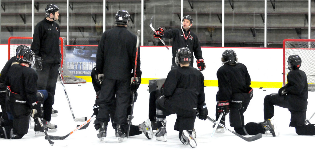 . Stephen \'Yuro\' Yurichuk, director of hockey operations, teaches his older students on ice at the Northern Educate Hockey Academy. (Pioneer Press: John Doman)