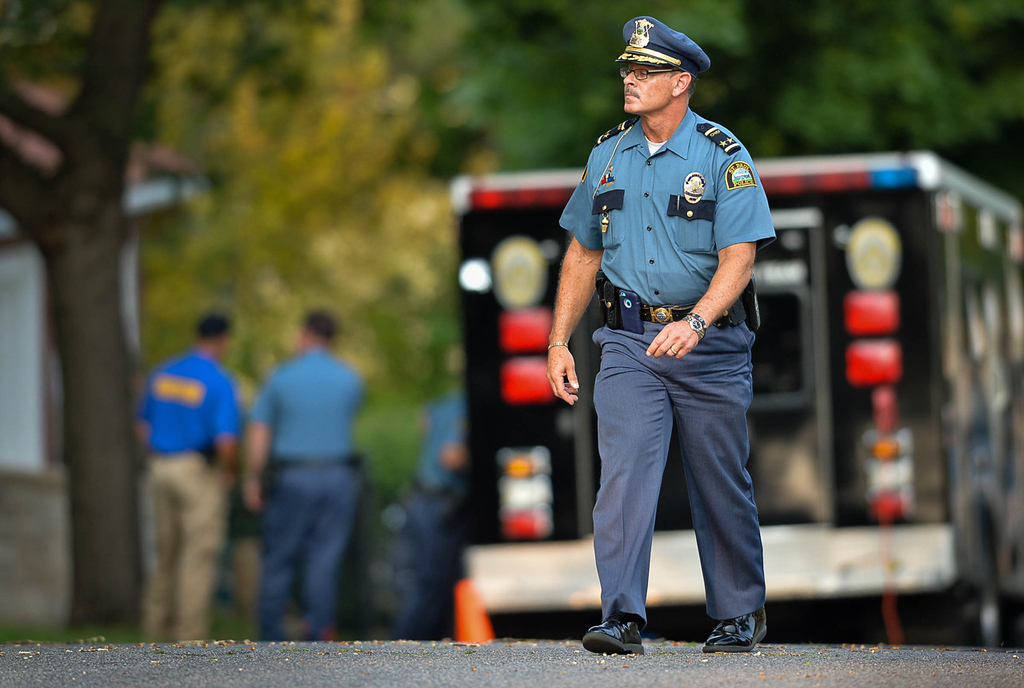. St. Paul Police Chief Tom Smith was on the scene near Robert Street in St. Paul, where the suspect\'s car was found at a nearby home on Wednesday. (Pioneer Press: Ben Garvin)