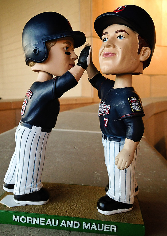 . The new bobble head featuring Justin Morneau and Joe Mauer at Target Field in Minneapolis, Minn., on Friday, July 19, 2013.