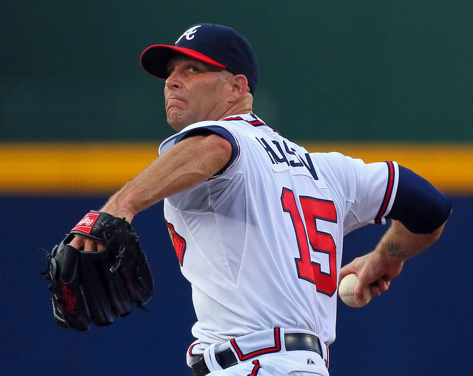 . Atlanta Braves starter Tim Hudson delivers a pitch against the Minnesota Twins during the first inning. (Curtis Compton/Atlanta Journal-Constitution/MCT)